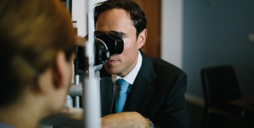 Mr Allon Barsam looks into lens for how to treat dry eyes