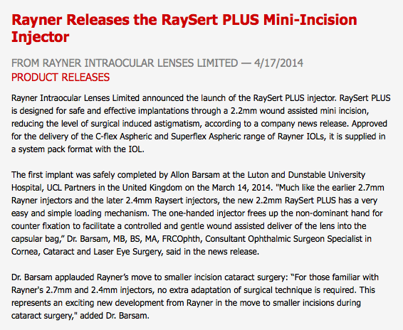 Press Release for Rayner micro incision lens injector by Allon Barsam, innovation in eye care