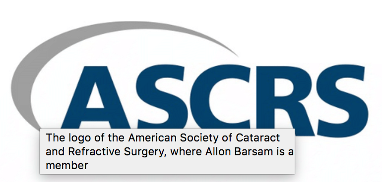 The logo of the American Society of Cataract and Refractive Surgery, where Allon Barsam is a member